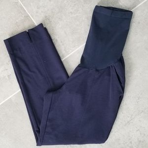 Navy ponte maternity ankle pants